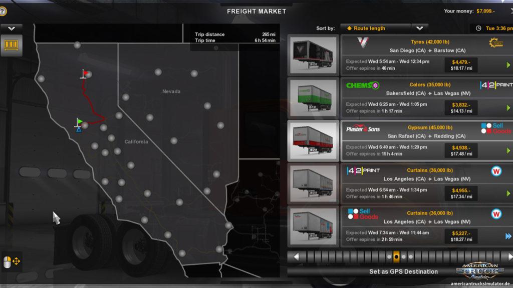Kalifornien und Nevada im Frachtmarkt