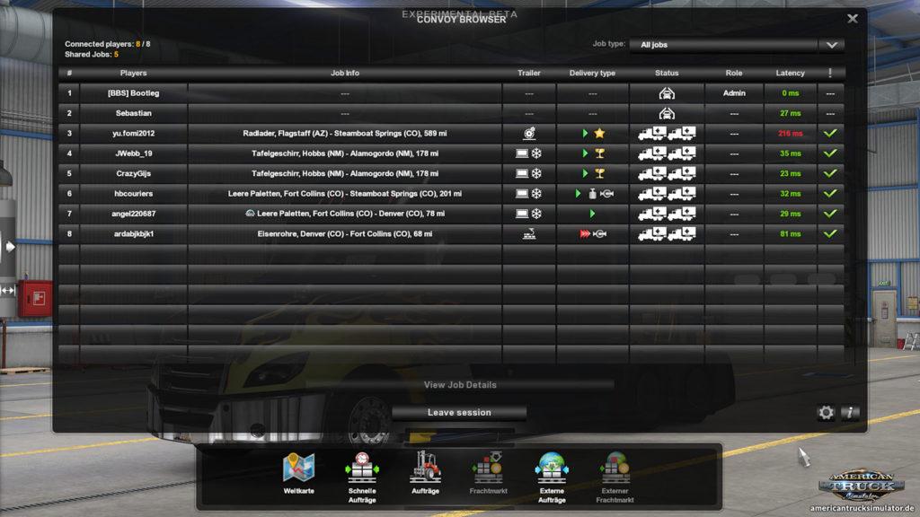 Spielerübersicht im Convoy-Feature